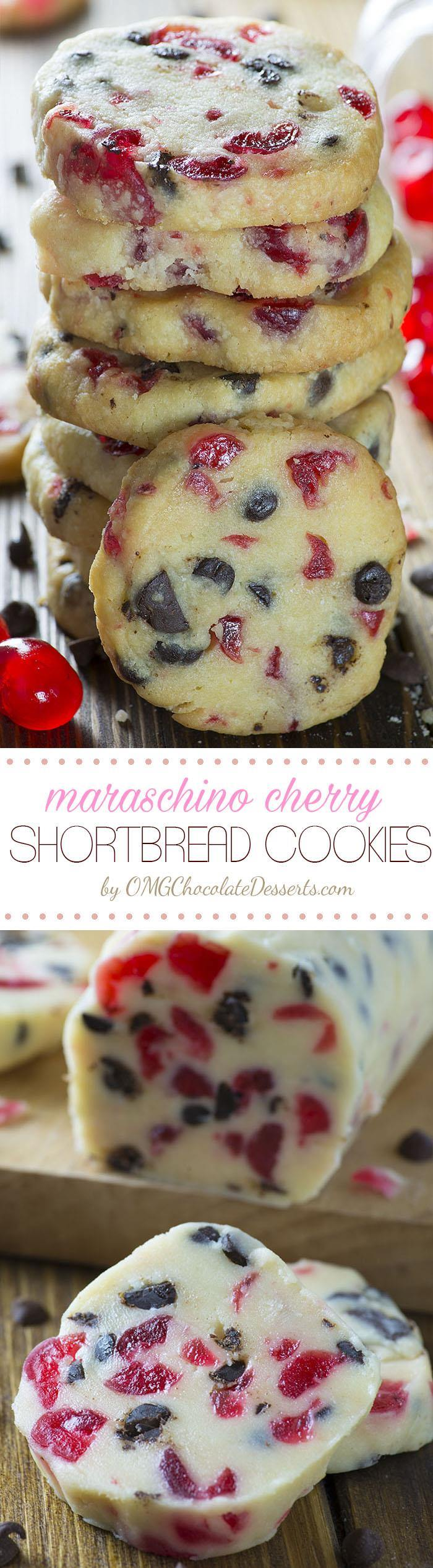 Christmas Maraschino Cherry Shortbread Cookies