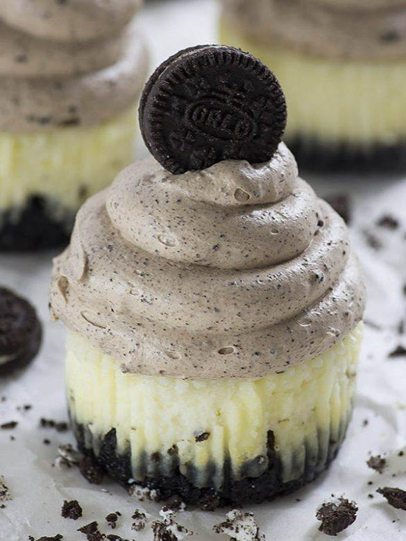 A batch of Chocolate Mousse Mini Oreo Cheesecakes.