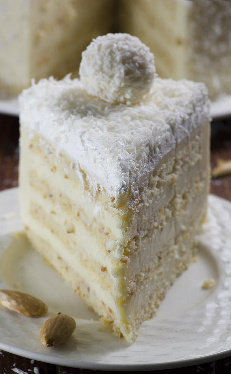Rafaello Cake With White Chocolate Coconut Frosting