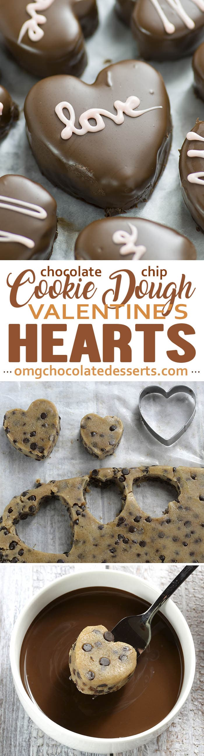 These adorable no-bake chocolate covered Cookie Dough Hearts are the perfect homemade chocolate treat for Valentine's Day - Cookie Dough Valentines Hearts.