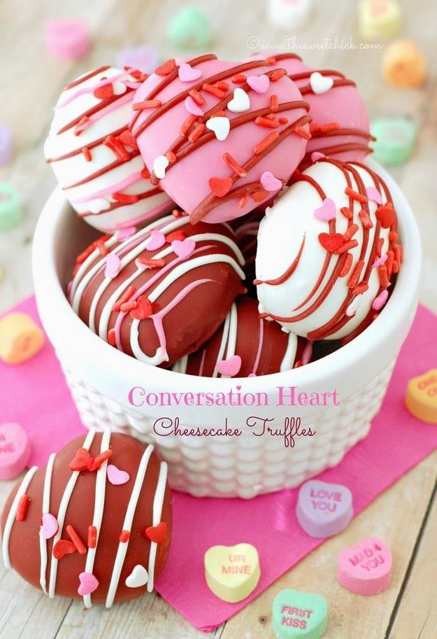 Conversation Heart Cheesecake Truffles