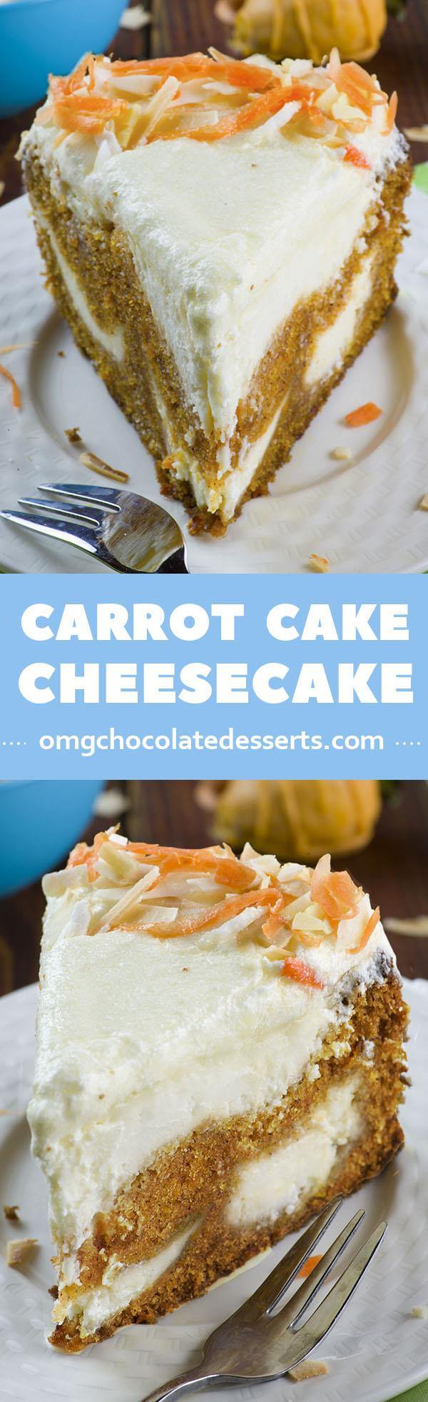 Search for Easter dessert idea? This yummy Carrot Cake Cheesecake is like carrot cake with a lot of cream cheesy flavor.