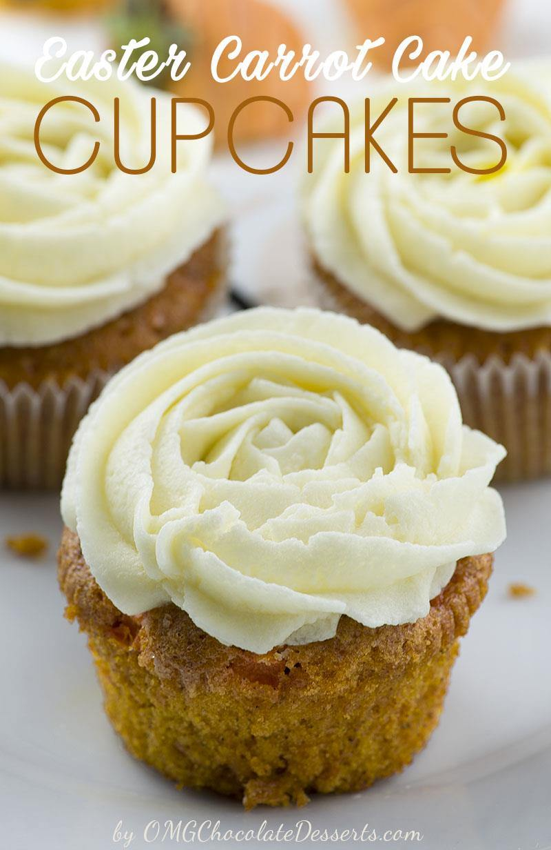 Carrot Cake Cupcakes - absolutely perfect Easter dessert. Easy to make and super moist carrot cupcakes garnished with cute Carrot Chocolate