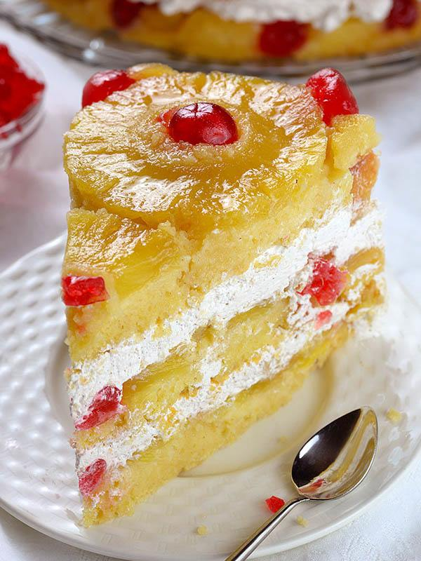 Slice of Pineapple Upside Down Cake on a plate.