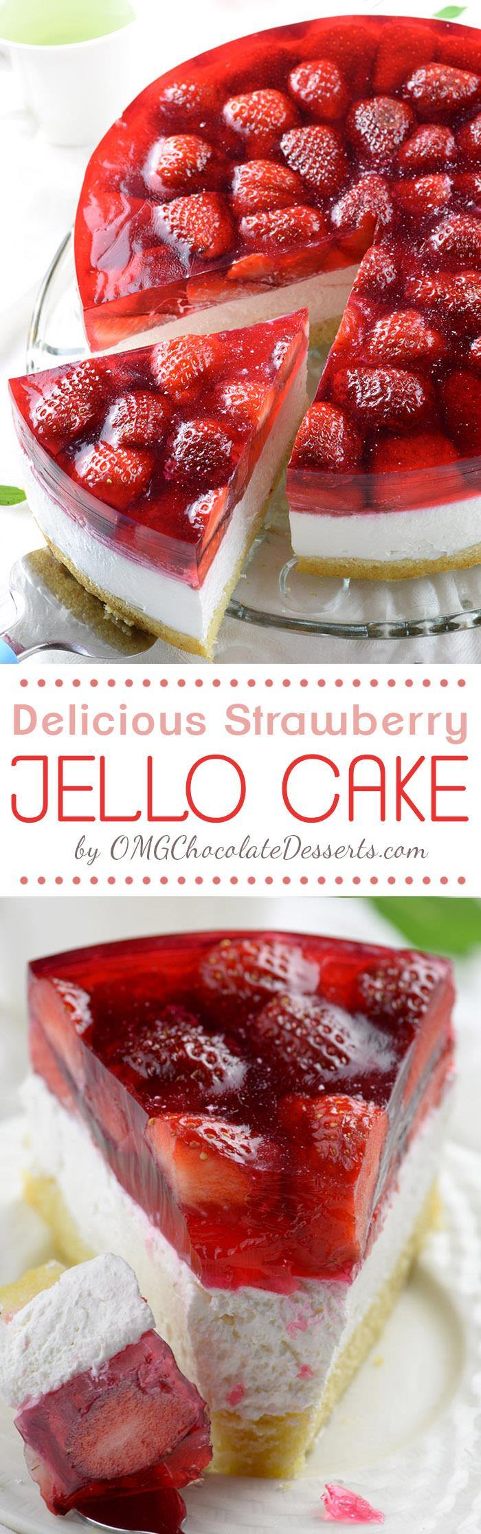 Strawberry Jello Cake Omg Chocolate Desserts