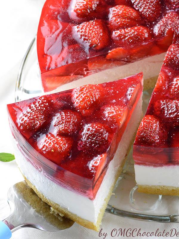 Serving Strawberry Jello Cake.