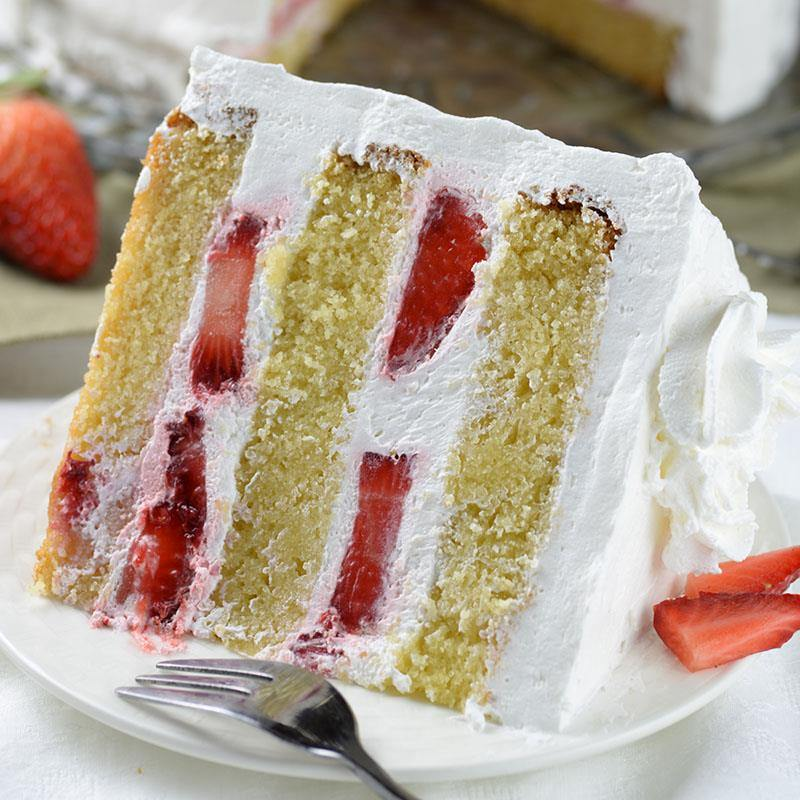 Strawberry Shortcake Layers Of Dense Ery And Moist Vanilla Cake Filled With Fresh Whipped