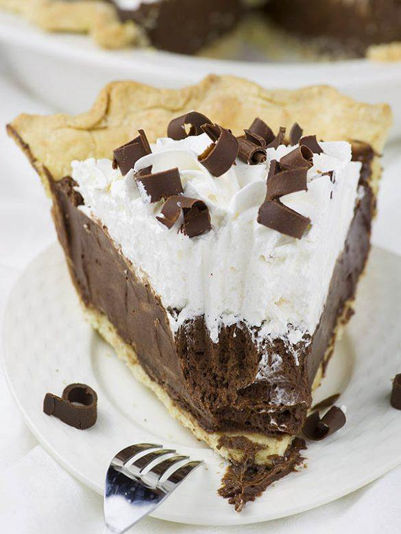 Chocolate French Silk Pie served on a plade.