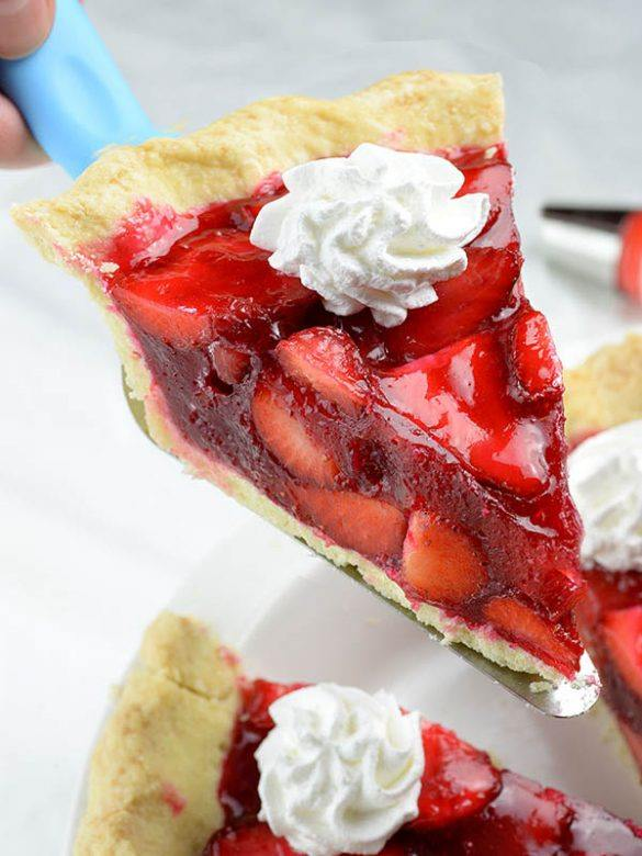 Serving a slice of Easy Strawberry Pie.