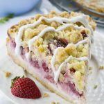 Slice of strawberry cheesecake coffee cake