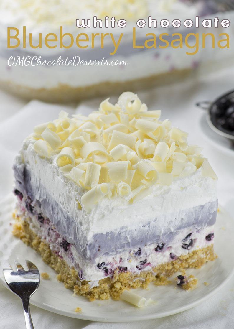 Great summer dessert recipe means SIMPLE, REFRESHING, NO BAKE RECIPE!!! This White Chocolate Blueberry Lasagna is all-in-one summer dessert!
