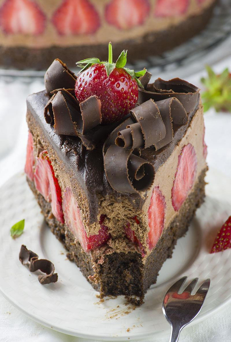 Chocolate Cake With Strawberry Vanilla Filling