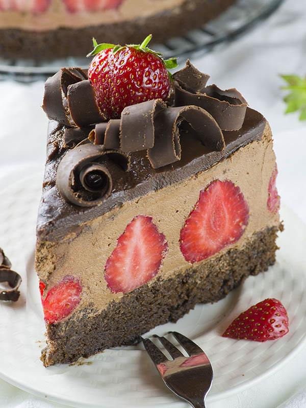 Slice of Strawberry Chocolate Cake on a plate.