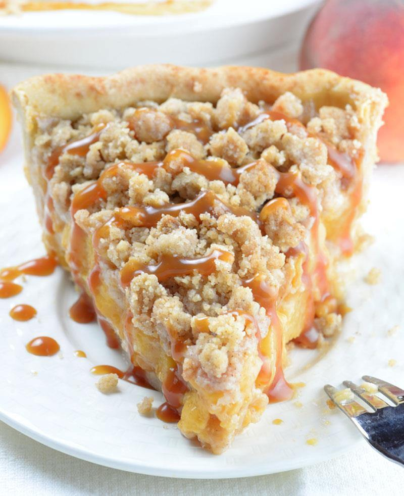 Caramel Crumble Peach Pie