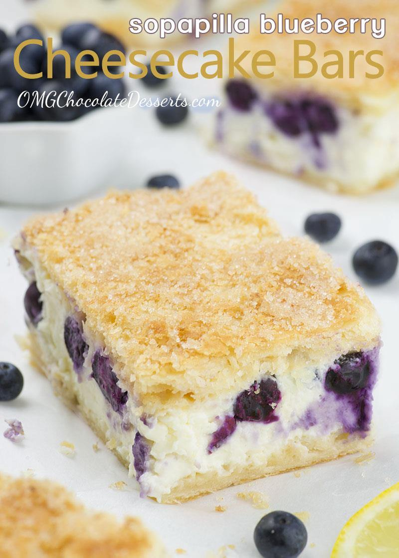 5 minutes of prep time, 6 simple ingredients and the best Sopapilla Blueberry Cheesecake Bars you've ever tasted is ready!