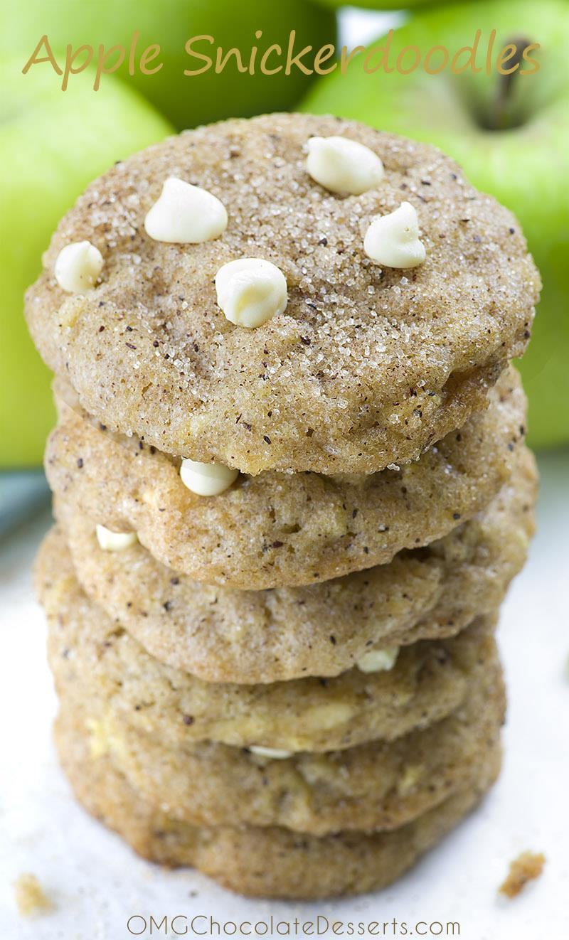 Crunchy on the outside and soft on the inside, Apple Snickerdoodles with WHITE CHOCOLATE chunks. You MUST try this interesting twist and you'll have a new favorite fall cookie recipe!!!