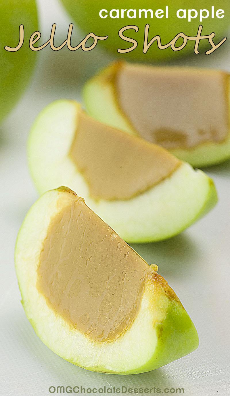 Caramel Apple Jello Shots are super fun twist on Halloween party staples- Caramel Apples and Jell-O Shooters!