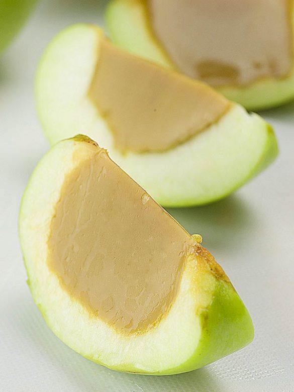Slices of Caramel Apple Jello Shots.