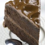 Slice of old fashioned chocolate cake