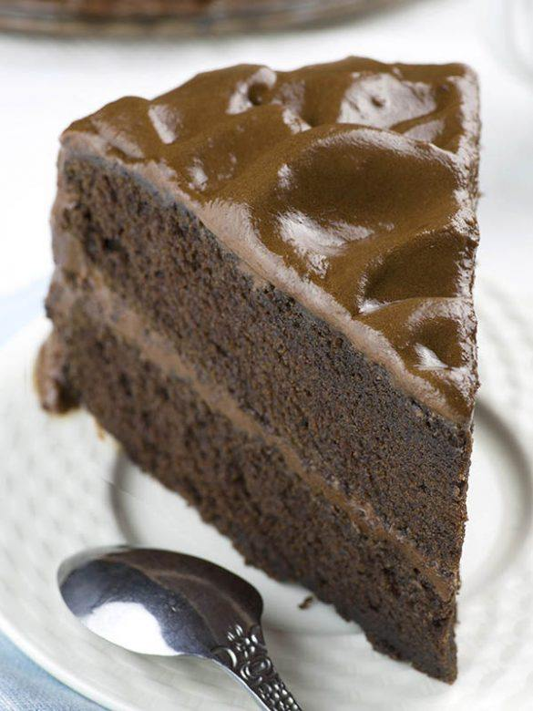 Slice of Old Fashioned Chocolate Cake on a plate.