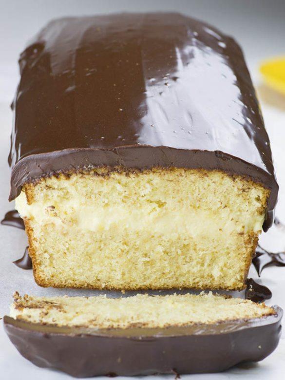 Sliced loaf of Boston Cream Pound Cake.
