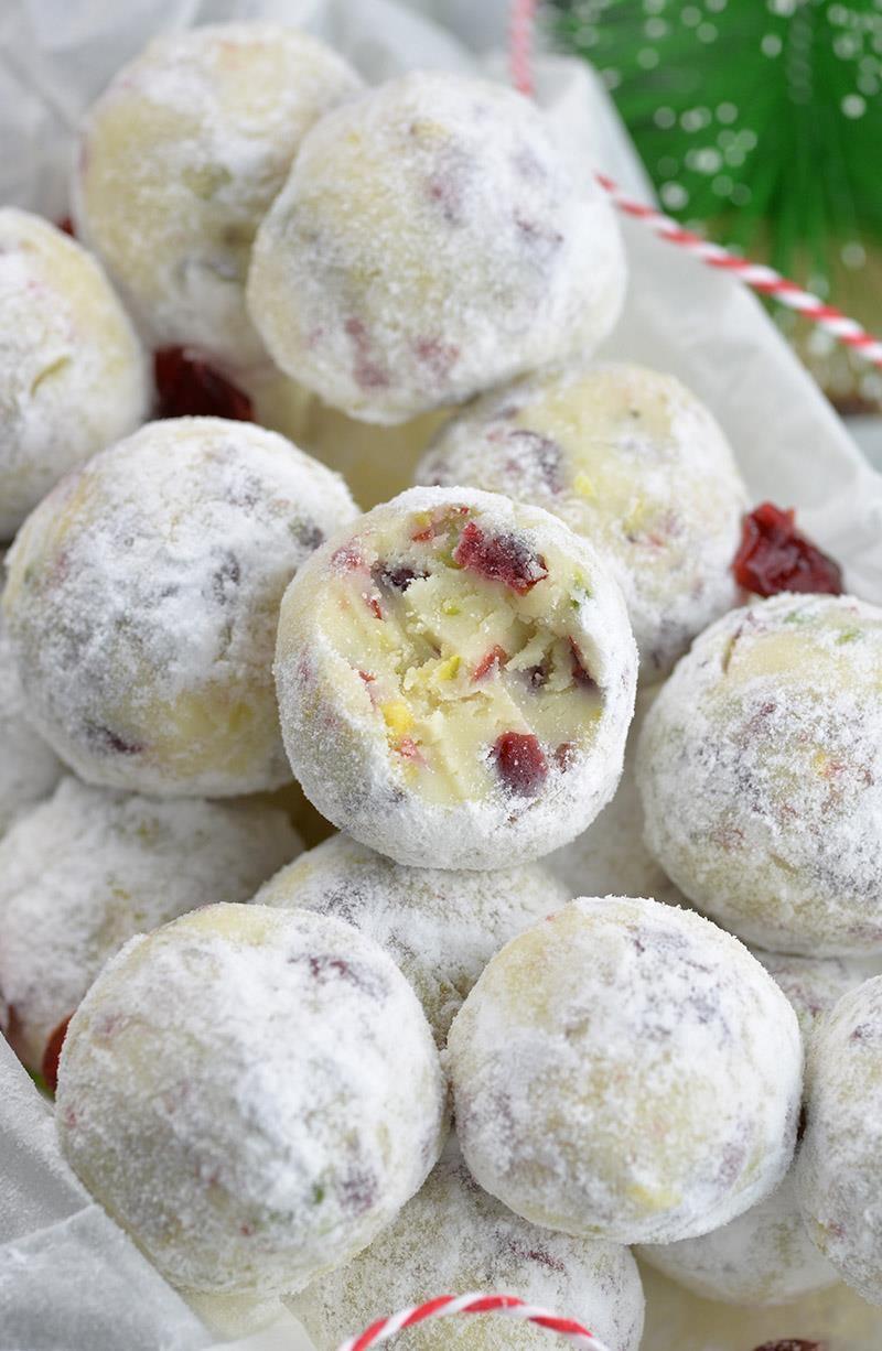 Cranberry Pistachio White Chocolate Truffles - OMG Chocolate Desserts