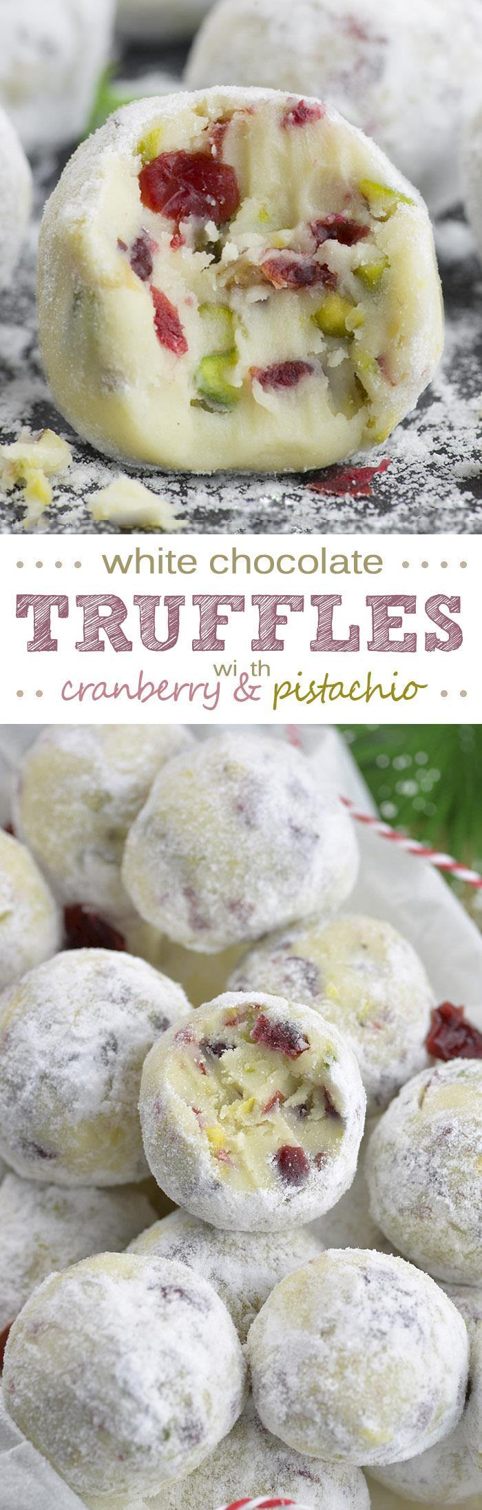 Cranberry Pistachio White Chocolate Truffles | Chocolate Dessert ...