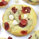 Image of a white chocolate cranberry cookie