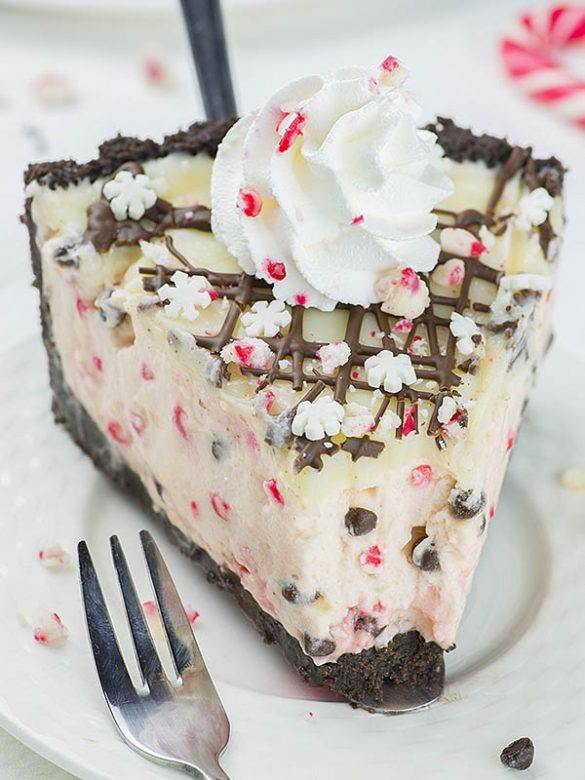 Slice of Candy Cane Pie on a plate.