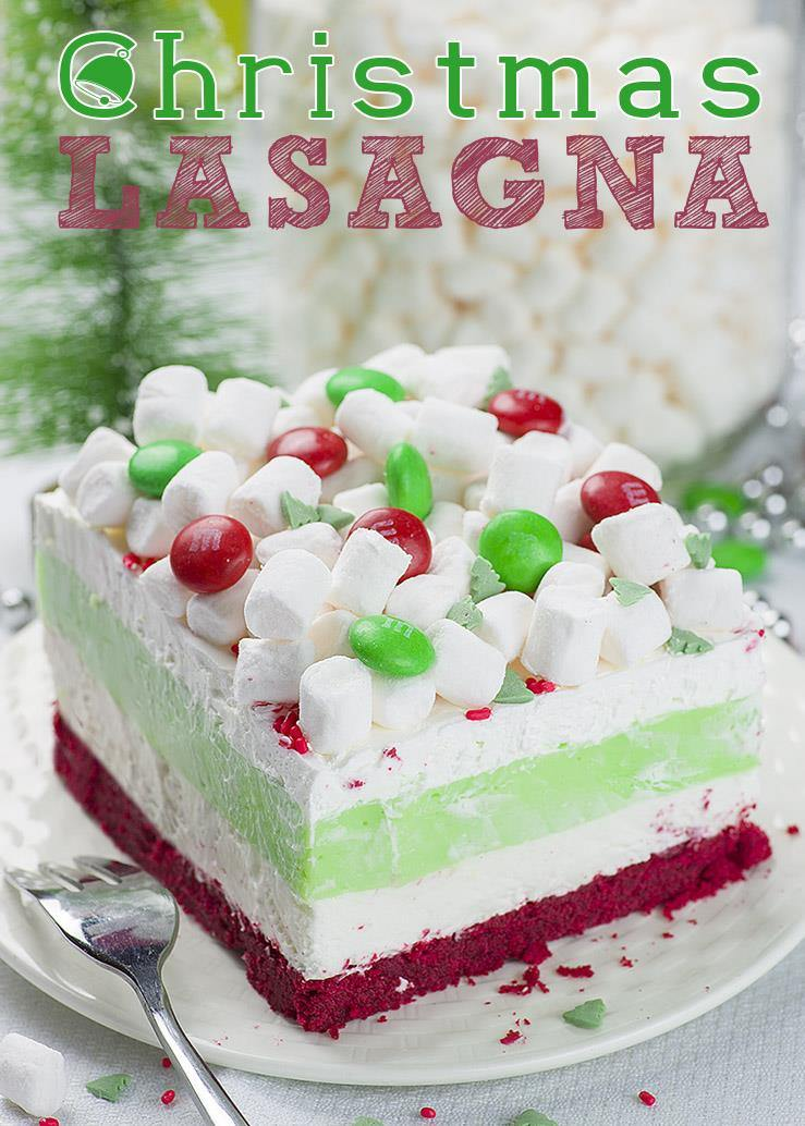 christmas lasagna is whimsical layered dessert that will be a hit at your christmas gathering
