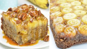 Amazing and moist banana cake topped with rich banana-caramel layer.