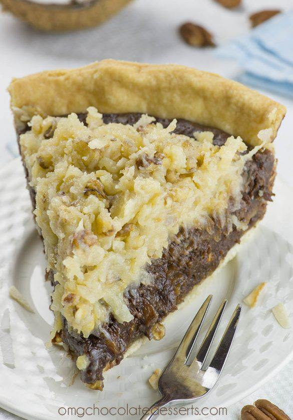 Piece of German Chocolate Pie on a white plate.