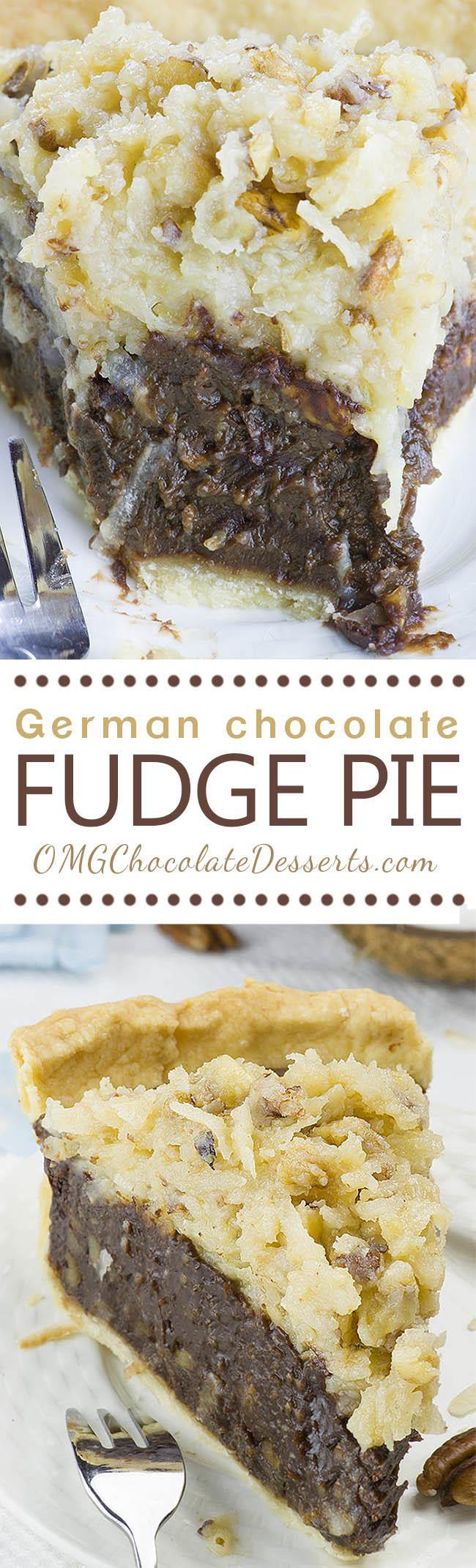German Chocolate Pie - decadent chocolate dessert.