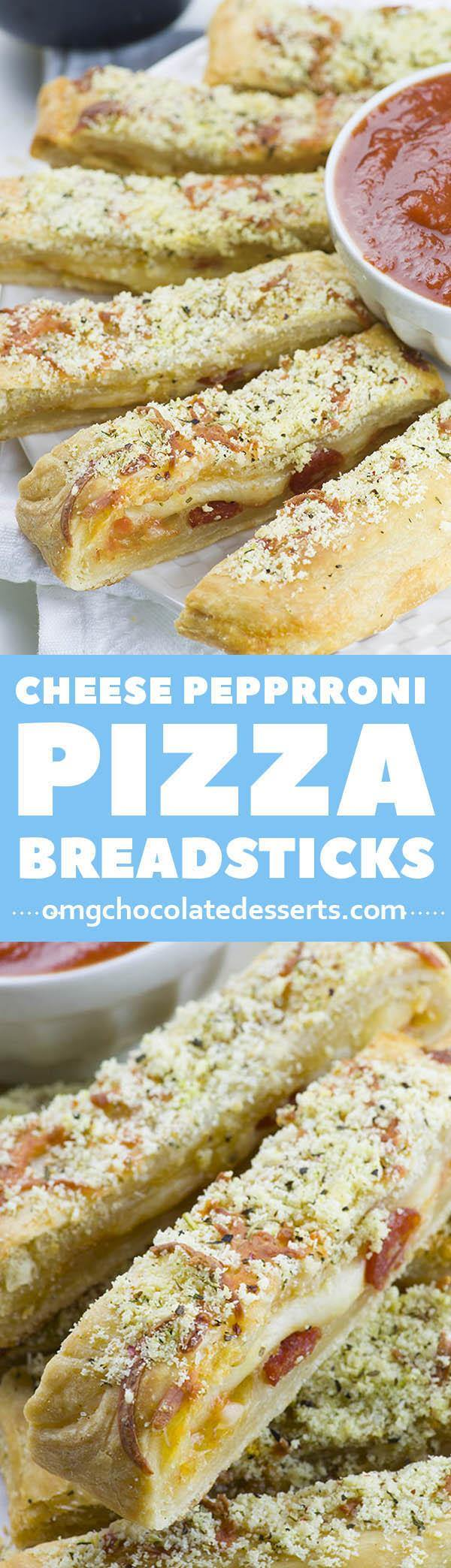 Need a last minute snack for a Game Day? Easy Cheesy Pizza Breadsticks is crowd-pleasing appetizer recipe.