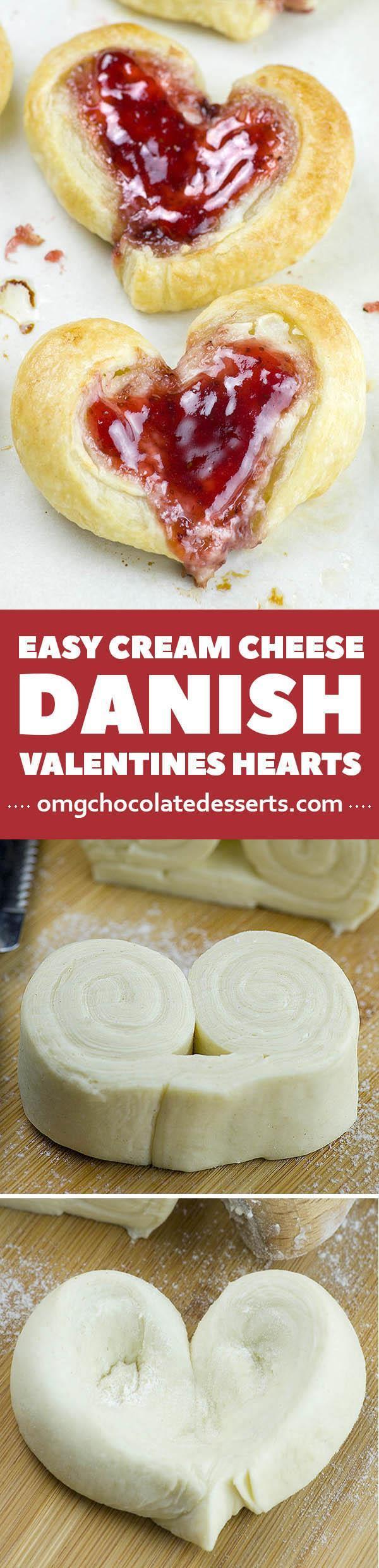 These adorable Easy Cream Cheese Danish Valentine's Hearts are perfect Valentines breakfast idea.