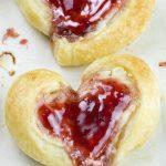 Two cream cheese danish hearts