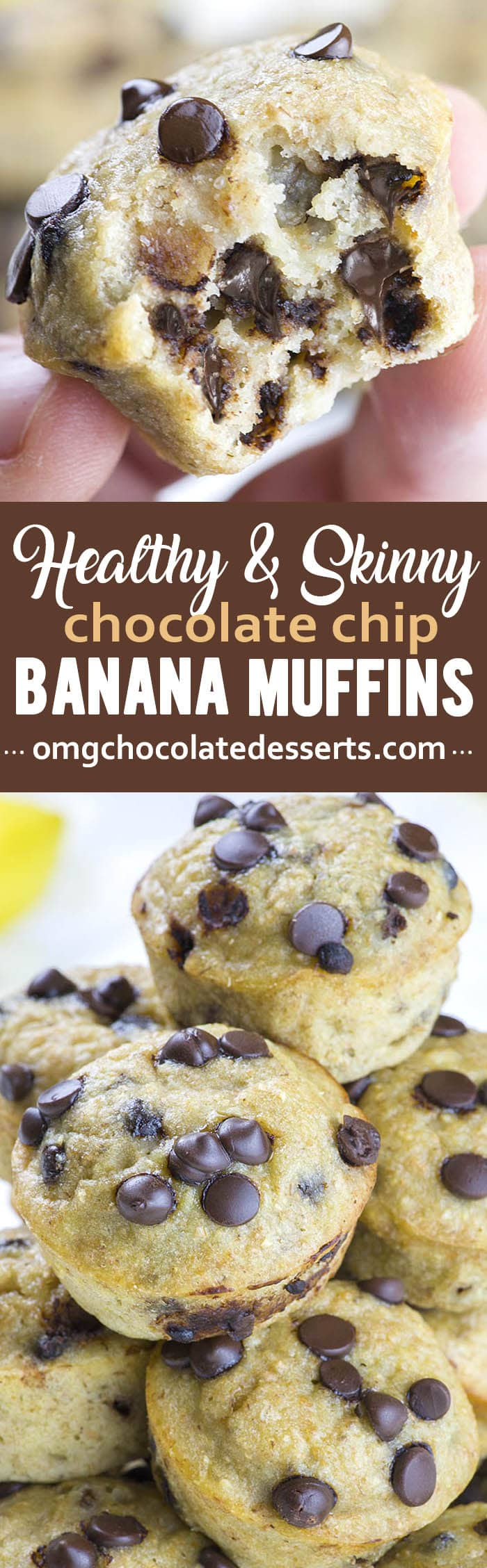 Skinny Chocolate Banana Muffins - a healthy indulgence! These soft muffins are perfect for breakfast or afternoon snacking..