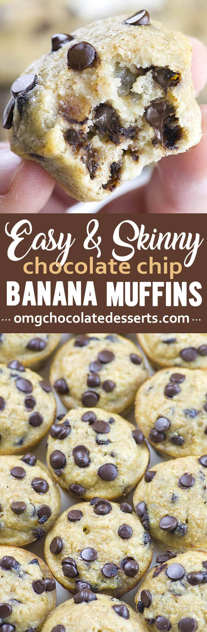 This super easy Banana Chocolate Chip Muffins Recipe is mixed up in just one bowl and ready in about 30 minutes, perfect for healthy breakfast.