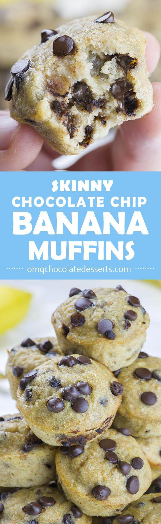 Skinny Chocolate Chip Banana Muffins - OMG Chocolate Desserts