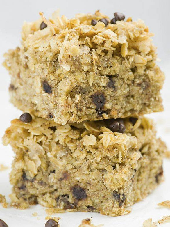 Two pieces of Banana Oatmeal Breakfast Cake