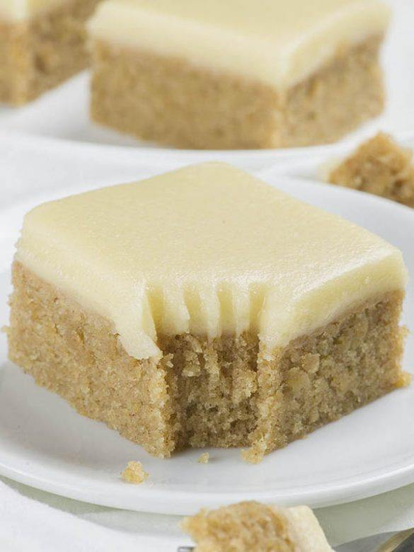 Piece of Banana Bread Blondies on a white plate.