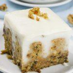 Piece of carrot cake poke cake