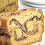 Loaf of sliced peanut butter banana bread