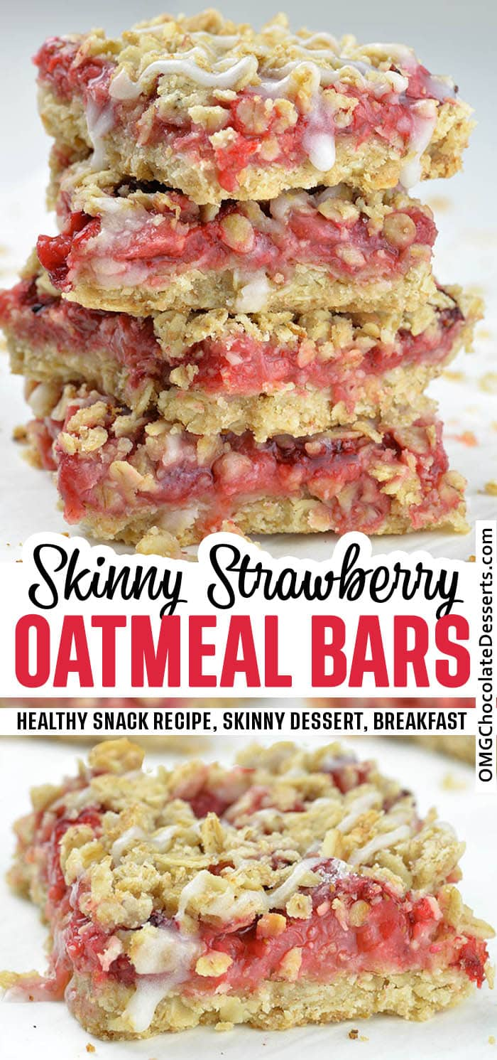 Two different Skinny Strawberry Oatmeal Bars images.