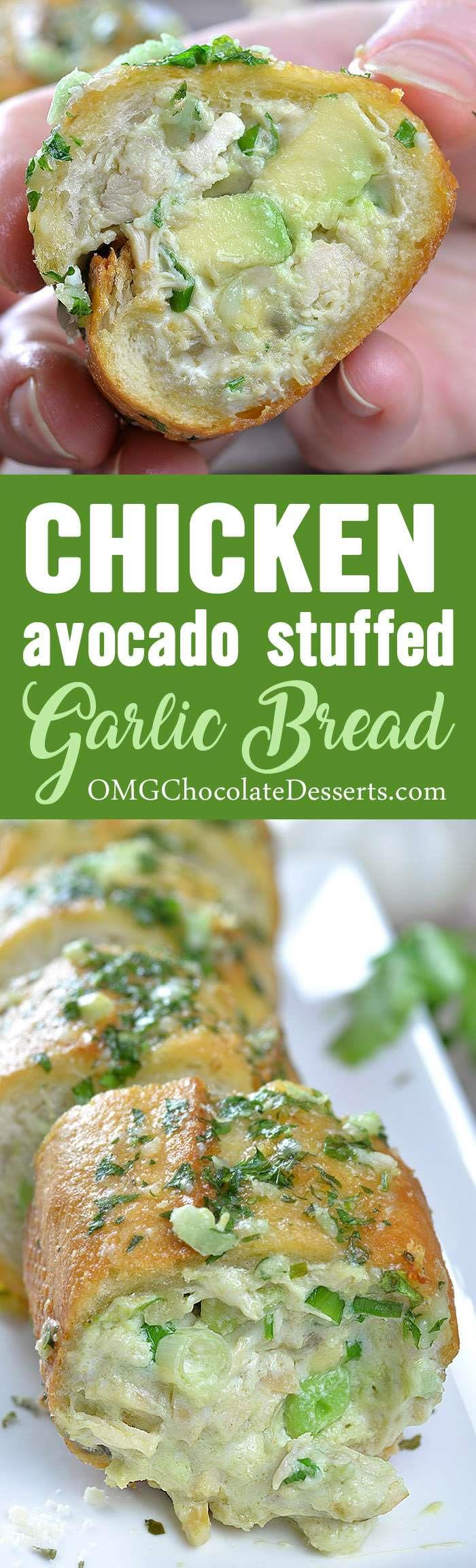 Love Cheesy Garlic Bread? Then you'll like this quick and easy Chicken Avocado Stuffed Garlic Bread recipe! ! You can serve it on weeknight as light and easy summer dinner or pack as a sandwich for lunch and take to work.