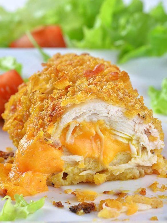 Half sliced Crispy Baked Parmesan Chicken