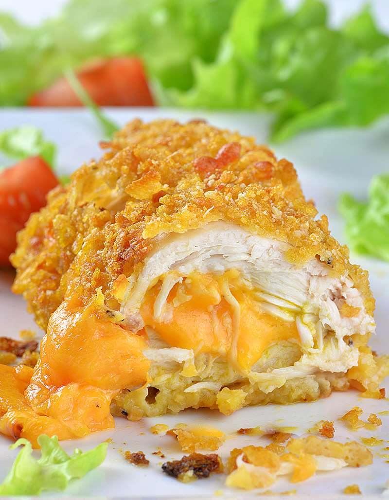 Crispy Baked Parmesan Chicken Chicken Stuffed With Cheddar Cheese