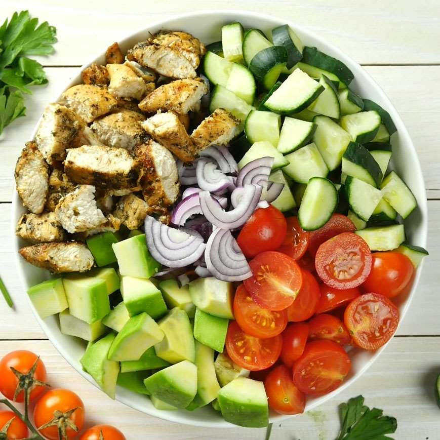 Healthy chicken cucumber tomato and avocado salad omg chocolate however dont let the marinade for grilled chicken scares you this is really simple recipe marinade for chicken and salad dressing is one simple forumfinder Choice Image