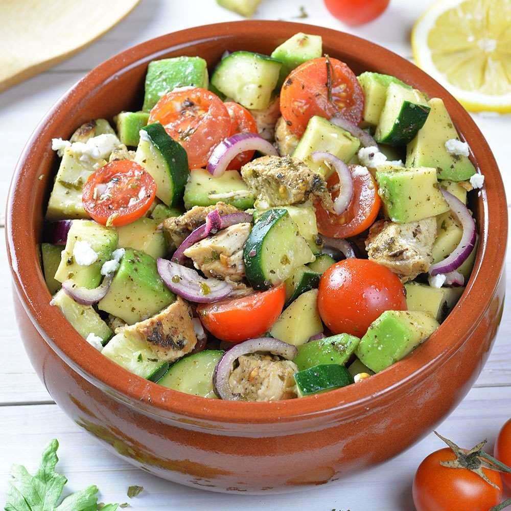 Healthy Chicken, Cucumber, Tomato and Avocado Salad