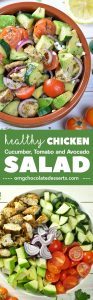 ealthy Chicken, Cucumber, Tomato and Avocado Salad - chopped salad with marinated grilled chicken and veggies is skinny, clean eating, low carb, light and easy summer meal.